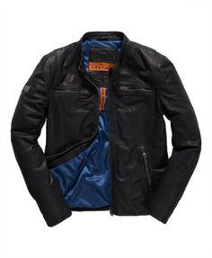 Mens - Real Hero Leather Biker Jacket in Black | Superdry