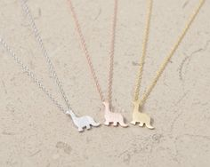 Dinosaur Necklace - Gold/ Silver/ Pink-gold