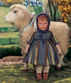 Let The Little Lambs Play : 3 Early Model German Cloth Character by Kathe Kruse with Original Costume