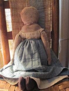Fat Hen Farm - Primitive Rag Doll - Early Blue Calico