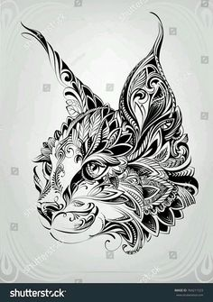 Lynx head in ornament cat mandala, tattoo chat, cat tattoo, tatoo art, Zentangle Drawings, Art Drawings Sketches, Tattoo Sketches, Animal Drawings, Tattoo Drawings, Body Art Tattoos, Zentangle Animal, Celtic Drawings, Tatoos
