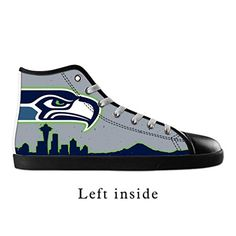 0249ca02376a DONGMEN Women s New NFL Seattle Seahawk 2016 Lace-up High-top Pop Canvas  Shoes Black Sneakers