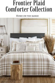 With its all-American frontier spirit this comforter elevates & LOVE this farmhouse inspired canopy bed frame! Great for the ...