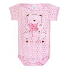 Sua menina confortável e na moda com body para bebê de manga curta e bordado de ursinho e bolsinho. Qualidade Patimini e disponível na loja infantil virtual da 764 Kids.