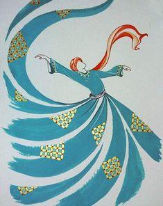 Original Painting Whirling Dervish Sufi Dance Rumi Miniature by AEDesignHouse on Etsy Arabic Calligraphy Art, Arabic Art, Islamic Art Pattern, Iranian Art, Turkish Art, Tile Art, Doodle Art, Painting & Drawing, Art Projects