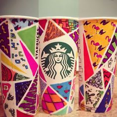Starbucks Coffee Cup Drawing Design #Starbucks #coffee #cup #design #drawing #draw #hand #drawn