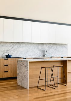 White and wood contemporary streamline kitchen