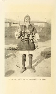 "the-two-germanys: "" In cap and bells. A Vlach masquerader at Verria. The Nomads of the Balkans Alan John Bayard Wace & M. Thompson London: Methuen & Co. Character Inspiration, Character Design, Folk Religion, Old Greek, Weird And Wonderful, Archetypes, Vintage Costumes, Folklore, Old Photos"