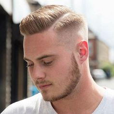 Comb Over with Hard Part and High Fade