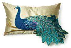 One Kings Lane - Peacock Pillows - Peacock Pillow, Teal Peacock Bedroom, Peacock Pillow, Peacock Decor, Peacock Colors, Peacock Art, Peacock Theme, Peacock Design, Peacock Feathers, Peacock Bedding