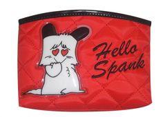 HELLO SPANK BUSTINA RED QUILT  Piccola bustina Hello Spank love in tessuto trapuntato rosso con chiusura a zip. Inoltre sul fronte è applicata una figurina in plastica sagomata si Spank.
