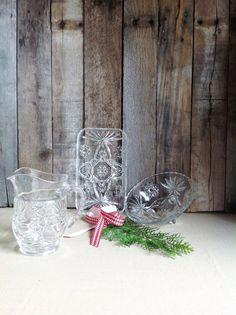 Vintage Glassware Serving Set-Cut Glass Mismatched