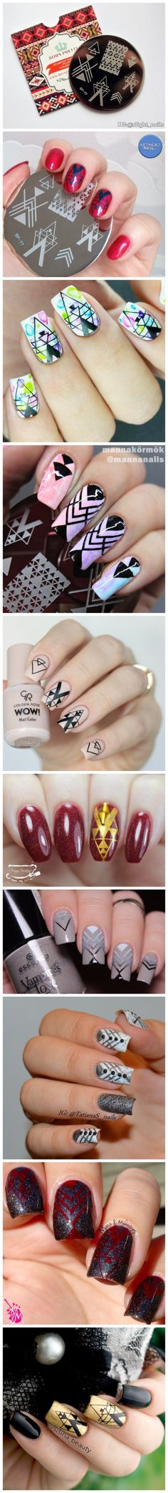 BORN PRETTY Negative Space Nail Art Stamping Stamp Template Image Plates Cool Triangle Nail Stamp Plate BP77-in Nail Art Templates from Health & Beauty on Aliexpress.com | Alibaba Group