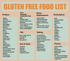 Gluten Free Food List, Dairy Free Diet, Foods With Gluten, Dairy Free Recipes, Gluten Free Shopping List, What Is Gluten Free, Gluten Foods List, What Foods Contain Gluten, Gluten Free Meals
