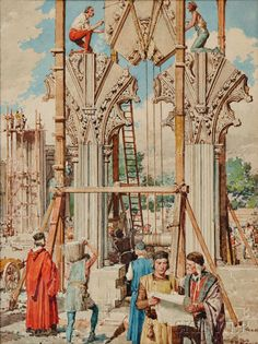 Fortunino Matania (Italian, 1881-1963)      The Building of a Gothic Cathedral