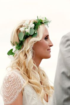 floral crown + beaded sleeve // photo by Katherine O'Brien Photography, flowers by Bouquets of Austin // View more: http://ruffledblog.com/austin-garden-wedding/