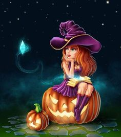 Witch, pumpkins and a magic stone. Spooky Halloween Pictures, Witch Pictures, Halloween Horror, Halloween Art, Halloween Witches, Fantasy Witch, Witch Art, Fantasy Art, Cartoon Witch