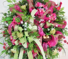 Deco Mesh Spring & Summer Wreath Gorgeous and by LadybugWreaths, $219.97 mesh wreath, meshwreath, summer wreath