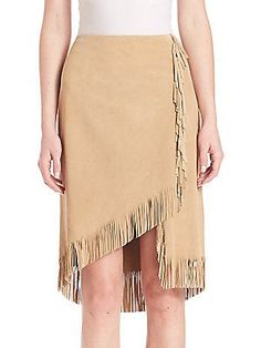 Polo Ralph Lauren Fringed Suede Wrap Skirt