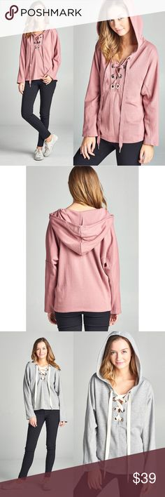 DYLAN Hoodie Top - D. PINK Casual and chic!    AVAILABLE IN D. PINK & CHARCOAL  PRICE FIRM Bellanblue Tops