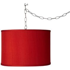 Universal Lighting and Decor Swag Style China Red Textured Silk Shade... ($130) ❤ liked on Polyvore featuring home, lighting, ceiling lights, chandeliers, red, red lamp, ceiling mount lights, red shade, plug in hanging lamps and plug in chandelier lighting