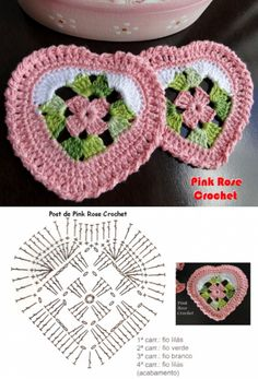 Crochet Heart Small Granny Squares 33 Ideas For 2019 Crochet Square Patterns, Crochet Blocks, Crochet Diagram, Crochet Chart, Crochet Squares, Crochet Patterns Amigurumi, Thread Crochet, Crochet Motif, Crochet Designs