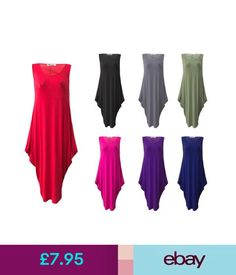 Dresses Womens Ladies Italian Lagenlook Tulip Parachute Dress Sleeveless Tunic Top 8-26 #ebay #Fashion