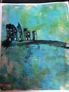 This is my favorite Gelli Print so far! I just love looking at it. I pulled three prints to make this picture and then added the details with a paint brush and an ink pen. Original by Jeannie Phillips