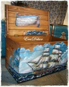 Eradekor - Játéktároló fa kincsesláda - Tengeri kaland, Otthon, lakberendezés, Baba-mama-gyerek, Bútor, Gyerekszoba, #treasure #chest #see #ship #boy #kids