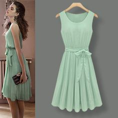 2013 summer pleated skirt Euramerican new ultra beauty mint green dress knee-length chiffon vest dress KFY063 on sale $24.90