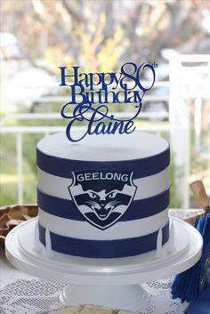 A Fun 80th Birthday Cake Featuring The Geelong Football Club Theme Hubby