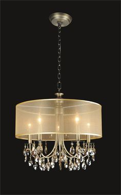 Concerto 9 Light 2525 Clear LuciteWhite Shades Chandelier at