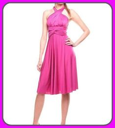 Tailored to Size & Length Bridesmaids dress in fuchsia color with tube top wrap dress Convertible/Infinity Dress