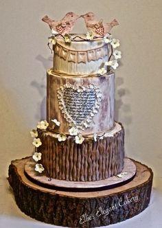 Rustic love bird wedding cake