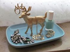 Vintage Blue Dish with Gold Deer on Etsy, $12.00