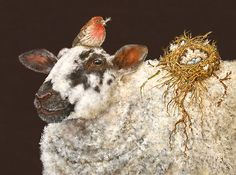 art by Vicki Sawyer containing whimsical sheep Size: Medium. Illustrations, Illustration Art, Farm Animals, Cute Animals, Sheep Art, Animal Paintings, Sheep Paintings, Animal Party, Whimsical Art