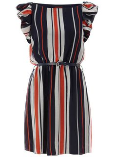 Navy Pleat Stripe Dress via Dorothy Perkins