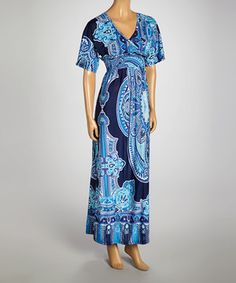 Another great find on #zulily! Exist Navy Tapestry Smocked Surplice Maxi Dress by Exist #zulilyfinds