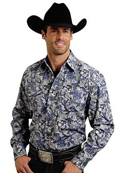 Stetson Men's Blue Floral Paisley Western Shirt Blue Large Men's Fashion >>> Read more reviews of the product by visiting the link on the image.