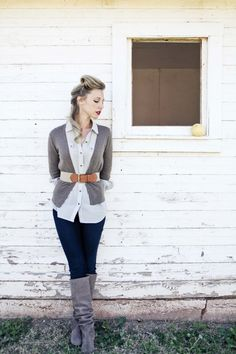 belted cardigan + boots = perfect fall outfit
