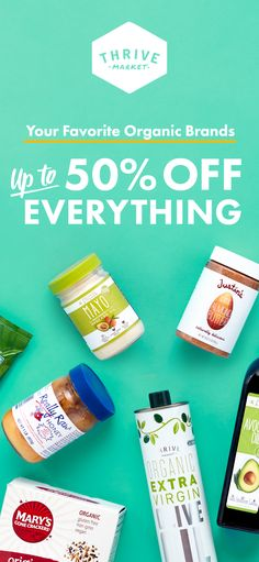 Thrive Market sells your favorite organic and non-gmo brands for up to 50% off retail. Join today and get free shipping on your first order!