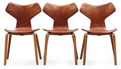 """ARNE JACOBSEN, stolar, 3 st, """"Grand Prix"""", Fritz Hansen, Danmark 1950-60-tal.. - Höstens Contemporary, Stockholm 576 – Bukowskis"""