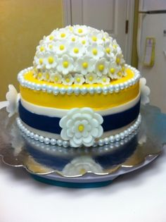 Navy and Yellow themed Bridal Shower cake By gingerlycreative on CakeCentral.com