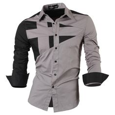 Long Sleeve Men Double color stitching Design Shirt Man Dress shirt
