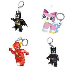 Stylish zipper pulls for kids make fun backpack accessories: LEGO Batman, Unikitty, Flash, and Catwoman keychains