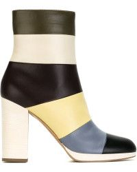 Valentino Striped Leather Boots multicolor - Lyst