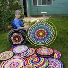 Wheel Covers by Wheelchair Accessories, Wheelchair Ramp, Diy Home Cleaning, Mobility Aids, Gamer Room, Wheel Cover, Knit Crochet, Chrochet, Crochet Patterns