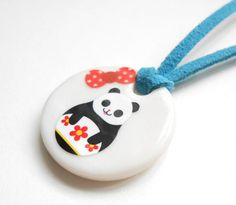Panda  Porcelain Children's Necklace UK by AliceAnnie on Etsy, $15.00
