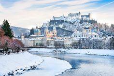 Beautiful view of Salzburg skyline with Festung Hohensalzburg and river Salzach in winter, Salzburger Land, Austria Best Winter Destinations, Top Europe Destinations, Best Places In Europe, Amazing Destinations, Places To See, Europa Im Winter, Austria Winter, European Honeymoons, Cn Tower