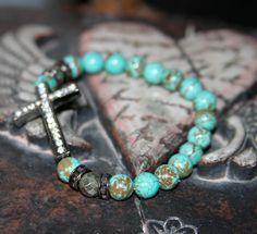 Crystal Sideway Cross Jewelry Turquoise Jewelry by JewelitCouture,